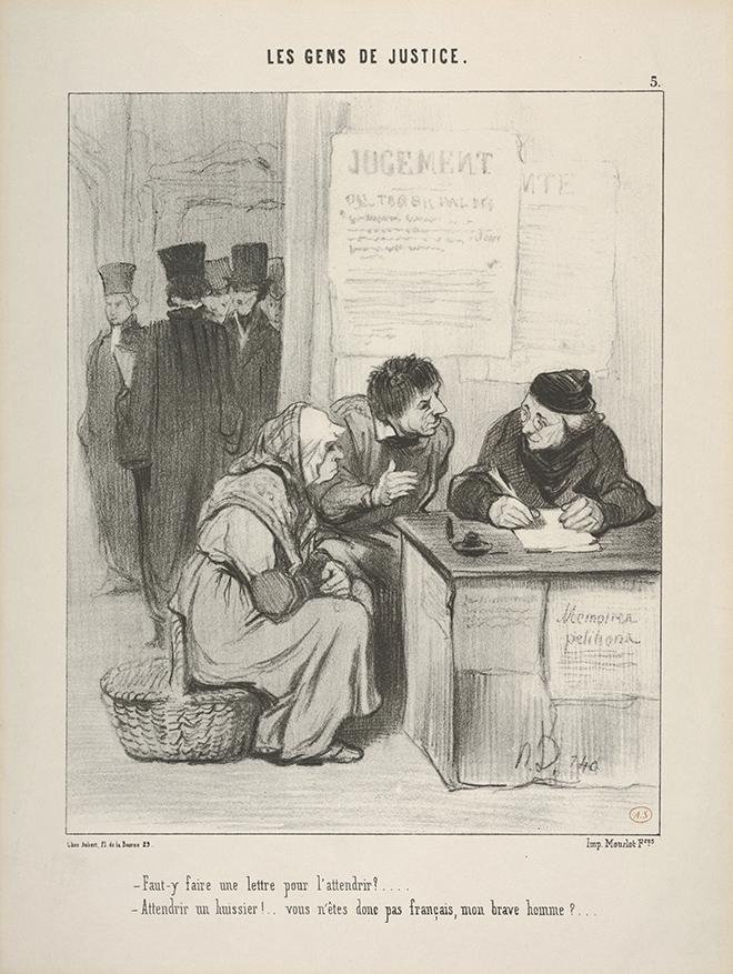 """Caricature d' Honoré Daumier - """"Attendrir un huissier ? Vous n'êtes pas Français mon brave homme !"""""""